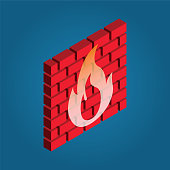 red brick with fire vector symbol in isometric 3D style