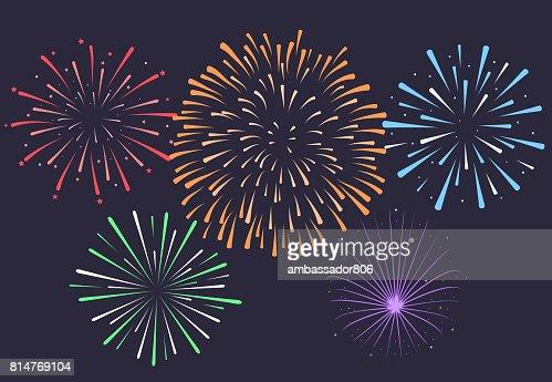 Firework on night background, anniversary bursting fireworks. V : stock vector