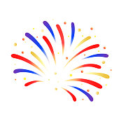 Firework bursting with little confetti, vector isolated.
