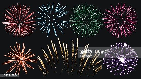 Firework set isolated vector : stock vector