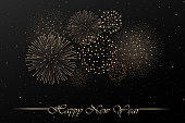 Firework show on black night sky background. New year concept. Congratulations background. Vector illustration