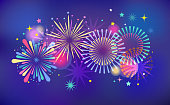 Fireworks and celebration background, winner, victory poster, banner