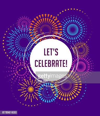 Feux d'artifice et fond de célébration, gagnant, affiche de victoire : clipart vectoriel