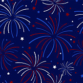 Festive exploding fireworks and stars filling the night sky seamless pattern in colors of red, white, blue, and navy blue