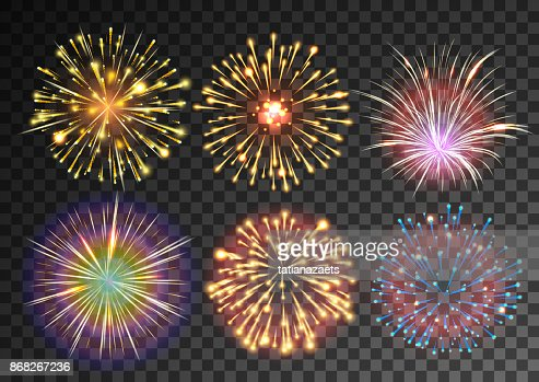 Fireworks isolated against black transparent background : stock vector