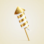 Golden fireworks rocket with sparkling stars on beige background, illustration.