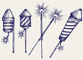 Fireworks. Doodle style