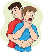 First aid scene illustration shows a person with their osbtruida airways, Heimlich maneuver. Ideal for catalogs, informative and medical guides
