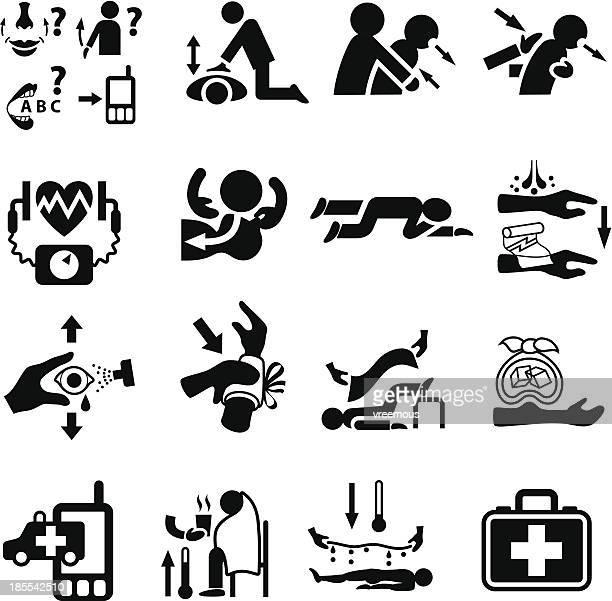 Primeros auxilios y conjunto de iconos de emergencia