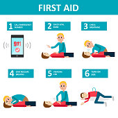 First aid banner. Checking and helping people after accident.