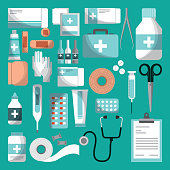 medicine equipment of first aid over turquoise background. colorful design. vector illustration
