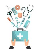 fist aid briefcase with medicine equipment over white background. colorful design. vector illustration