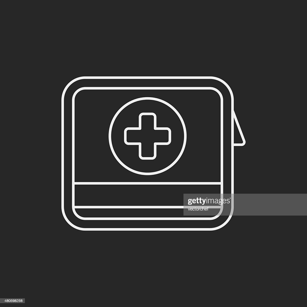 First aid kit line icon : Vector Art