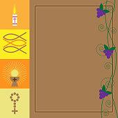 First Communion Card - Vector Illustration