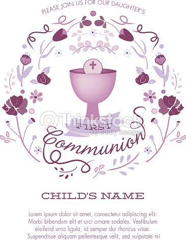 First Communion Invitation Template With Chalice And Abstract Floral