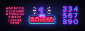 First Round is a neon sign vector. Boxing Round 1 bout, neon symbol design element Illustration neon bright, light banner. Vector Illustration. Editing text neon sign.