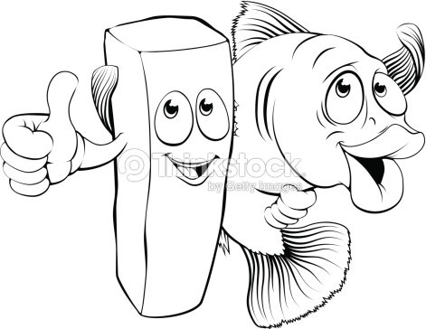 Pescado Con Papas Fritas Caracteres Arte vectorial   Thinkstock