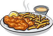 illustration of battered fish and chips with lemon and sauce