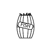 fish in a barrel icon. Element of fishing industry icon for mobile concept and web apps. Thin line fish in a barrel icon can be used for web and mobile. Premium icon on white background