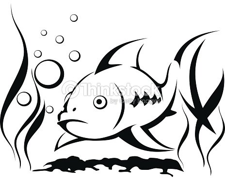 Line Art Of Fish : Fish in the water blowing bubbles surrounded by seaweed symbol