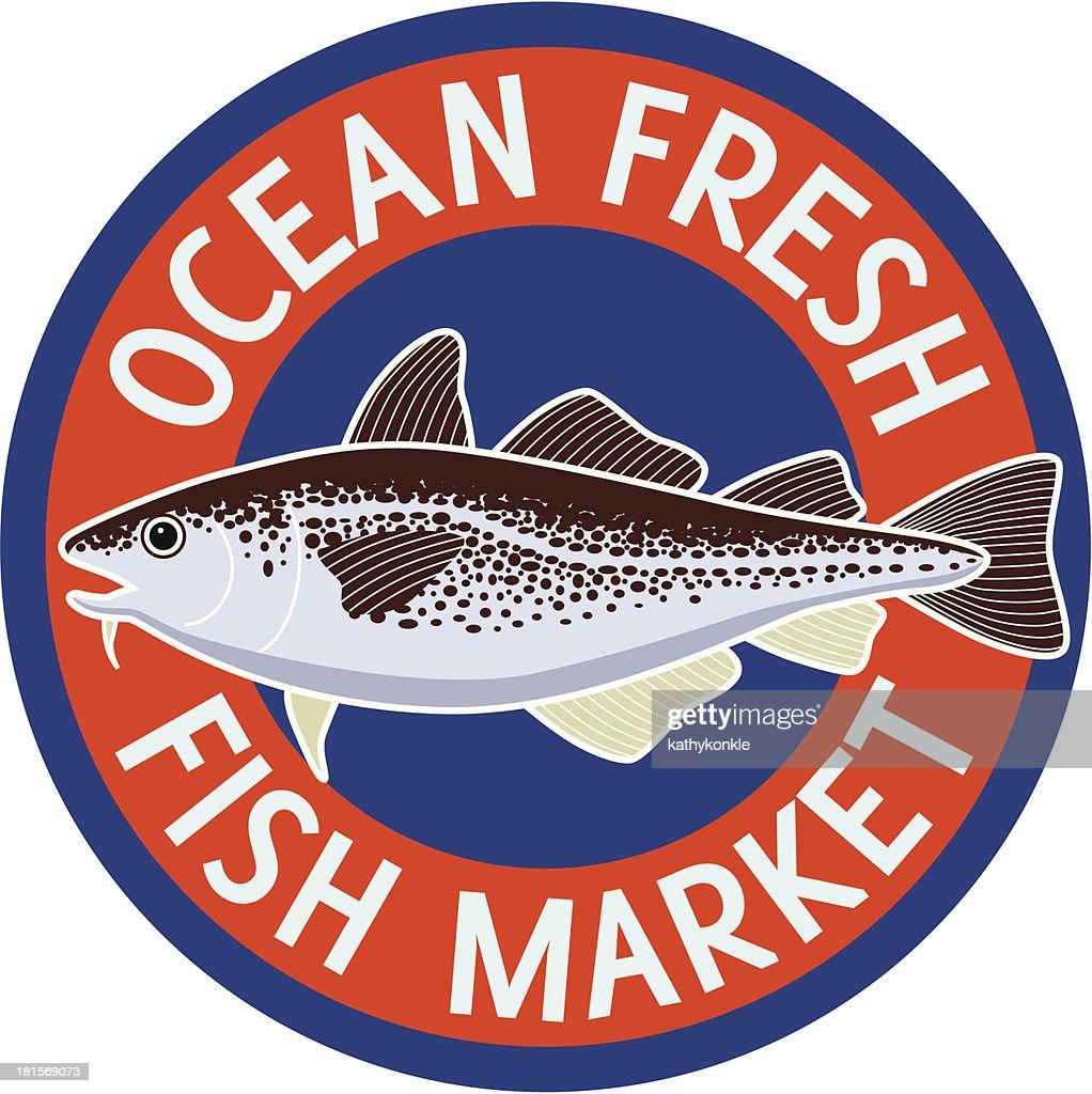 fish market sign : Vector Art
