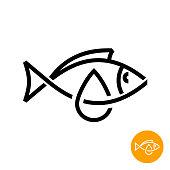 Fish oil icon. Black line style cod liver oil sign. Fat oil drop with fish silhouette symbol.