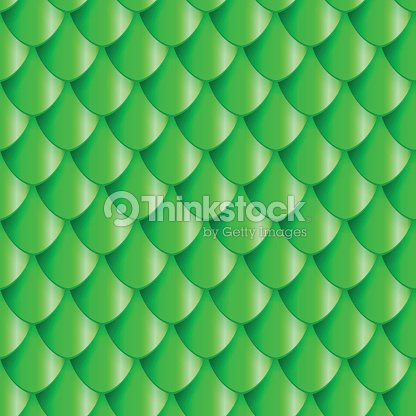 Fish Scales seamless pattern. Small colorful reptile snake skin or Roof tiles. Green 3d geometric vector background.