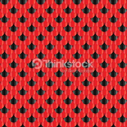 Fish Scales seamless pattern. Small colorful reptile snake skin or Roof tiles. Black and red 3d geometric vector background.