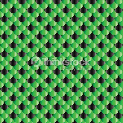 Fish Scales seamless pattern. Small colorful reptile snake skin or Roof tiles. Black and green 3d geometric vector background.