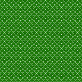 Green and white fish scales or scallops design