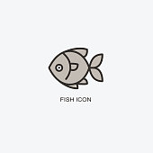 Fish template for design. Icon of seafood restaurant.