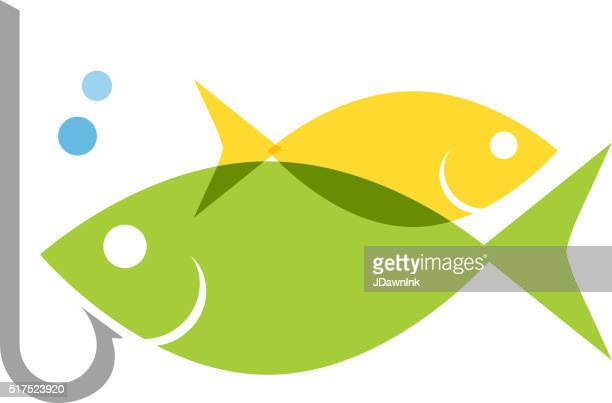 Fish with hook concept icon