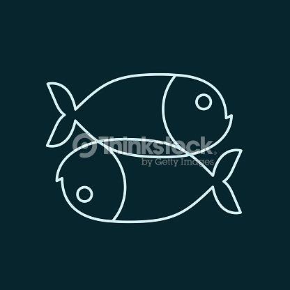 Fish Zodiac Sign Icon Sea Animal Symbol Isolated Vector Art Thinkstock