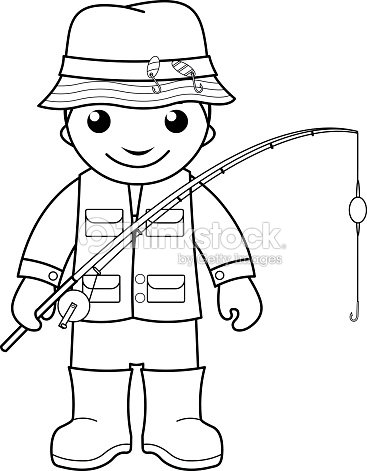 Fisherman Coloring Page For Kids Vector Art