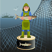 Fisherman with fish on the background of the marine nets. Vector illustration