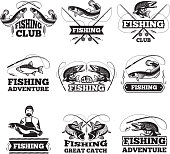 Monochrome pictures of salmon, water and others symbols for fishing club. Badges or labels design template with place for your text. Fishing adventure monochrome collection type illustration