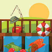 fishing fish rod hat lifebuoy and tackle box on the dock vector illustration
