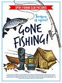 Gone fishing poster with fish, fisherman equipment and tackle sketch. Fish on hook of fishing rod, boat and lure, fisherman boot, tent and backpack for fishing sport club and outdoor hobby design