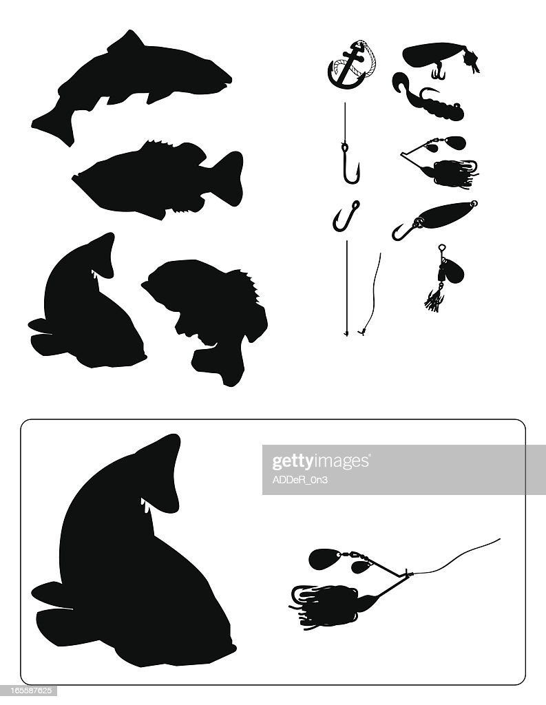 fishing silhouette vector art getty images