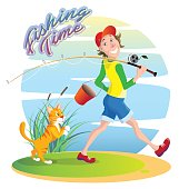 Funny, funny cartoon illustration on the theme of summer fishing. A smiling guy walks on a fishing trip with a bucket and a fishing rod. A red cat sneaks behind in anticipation of the fish. Caption: F