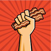 Vector Illustration of a fist holding bacon in the style of Russian Constructivist propaganda posters.
