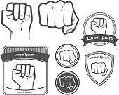 set of images, for logo, fist icon. fist silhouette on white.