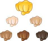 Fisted hand sign emoji set of various skin tones