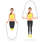 Fit girl in leggings and crop top doing exercises with jumping rope. Woman in sportswear. Vector character