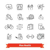 Fitness and men health. Thin line art icons set. Workout, healthy food, diet, slimming. Linear style symbols isolated on white.