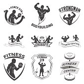 fitness emblems, icon design on a white background