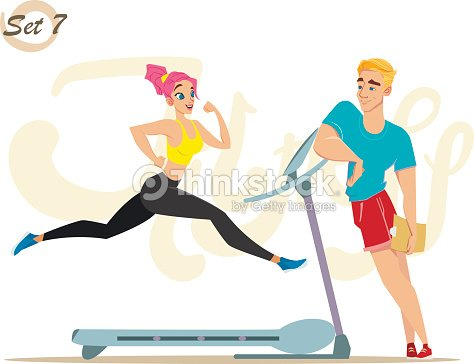 Fitness girl with cute trainer. Healthy lifestyle. Workout set