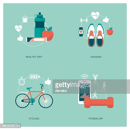 Fitness, sports and diet : Vector Art