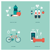 Fitness, sports, personal training apps and diet concepts with icons