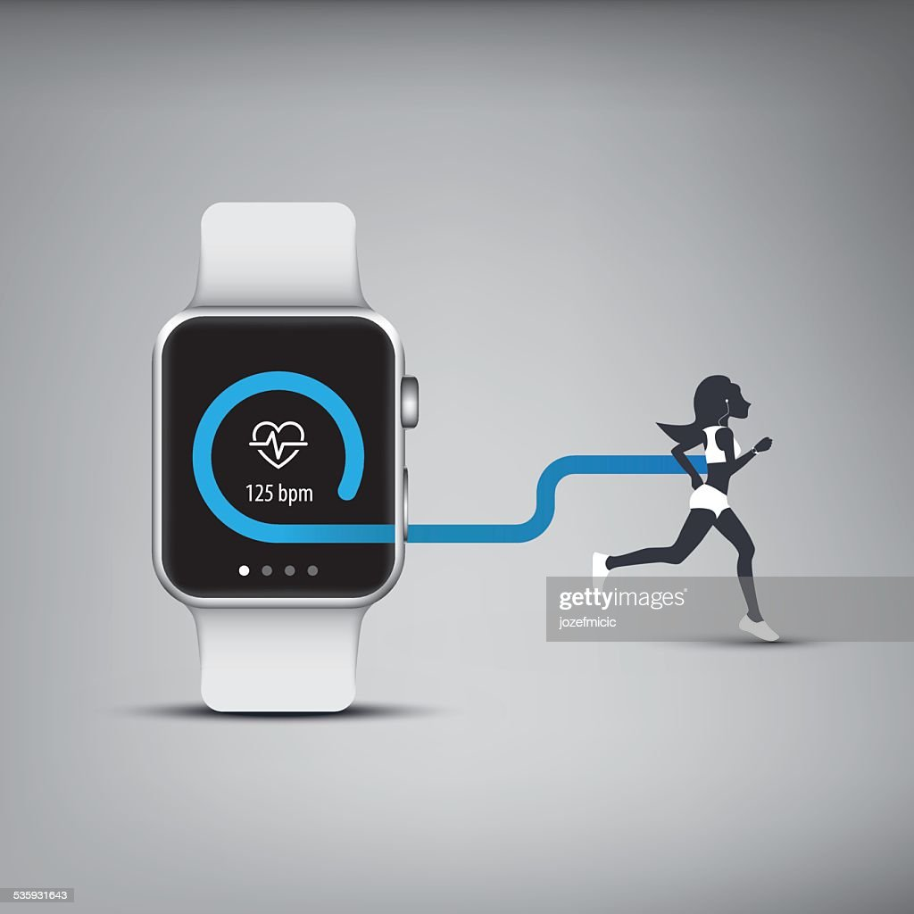 Fitness tracker application for smart watch concept with heart monitor : Vector Art